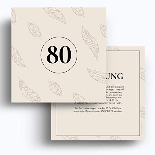 (40 x) Einladungskarten zum 80. Geburtstag Einladungen Karten Klappkarte Edel runder