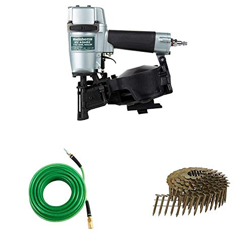 Metabo HPT Roofing Nailer with Air Hose and Roofing Nails