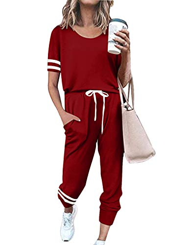 BUOYDM Tuta Donna Due Pezzi Sportive Completa Set Pullover + Pantaloni Casual Pigiama Casa Tempo Libero Yoga Sportswear (A-Rossa, S)