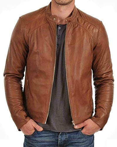 Usado, EU Fashions Café Racer Lambskin Leather Jacket Mens segunda mano  Se entrega en toda España