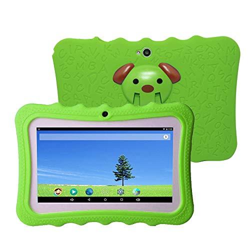 Docooler 7 Pulgadas Kids Tablet PC 8GB Quad-Core Wi-Fi Tablet PC Pad con Funda Protectora de Silicona a Prueba de Golpes para niños Regalo Educativo(Verde, Azul, Naranja, Rosa Rojo, Rosa )