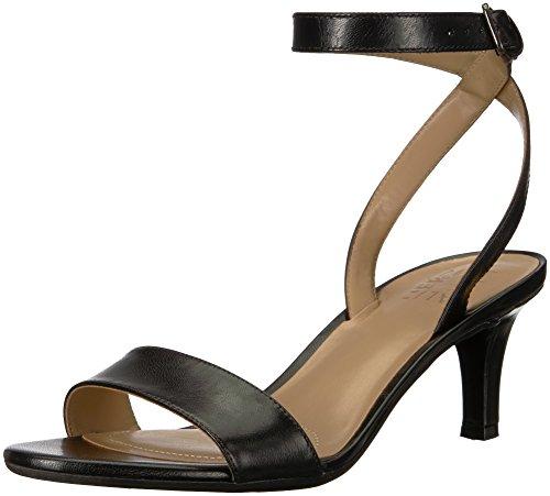 Naturalizer Women's TINDA Heeled Sandal, Black Leather, 6 M US