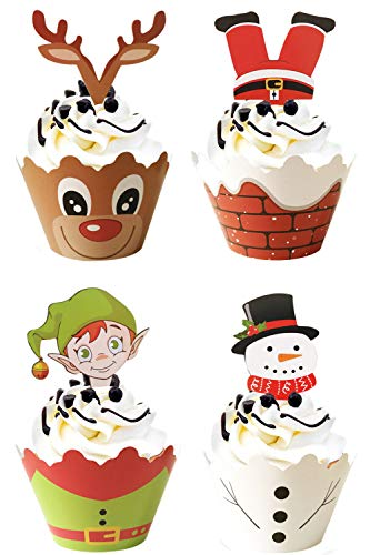 JAYKIDS 96 PCS Christmas Cupcake Toppers and Wrappers Picks for Cake Decorations Xmas Party Supplies Set
