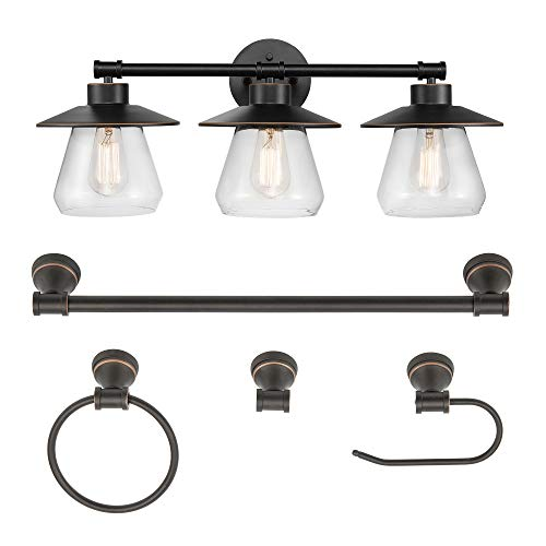 Globe Electric 51496 Nate 5-Piece All-in-One Bathroom Set, Oil Rubbed Bronze, 3 Vanity Light with Clear Glass Shades, Bar, Towel Ring, Robe Hook, Toilet Paper Holder