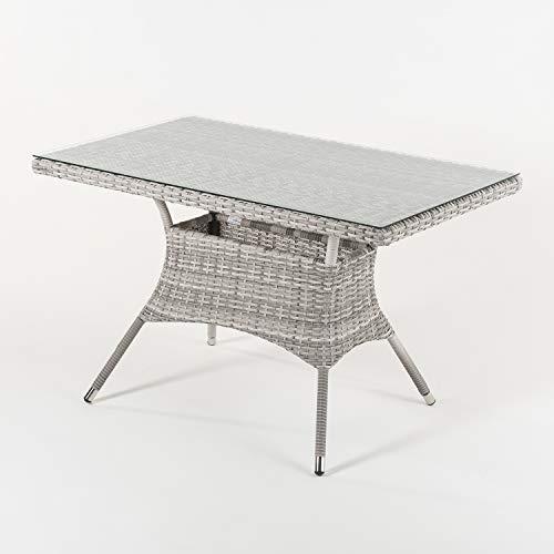 Mesa de jardín Rectangular, Tamaño: 120x70x74 cm, Aluminio y ratán sintético Plano Color Gris, Cristal Templado de 5 mm
