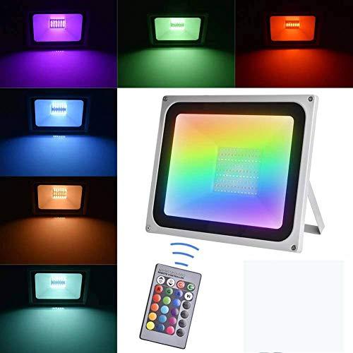 TYCOLIT 30W Faretto LED RGB Esterno, Proiettore IP67 Impermeabile 4 Modalità 16 LED Colorati con Telecomando, Faro per Decorazione Festiva di Natale, LED Halloween, Giardino Faretto LED da Esterno