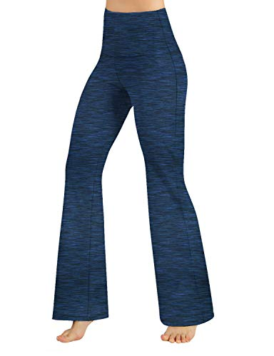 ODODOS Women's High Waisted Bootcut Yoga Pants Tummy Control Non See Through Bootleg Gym Workout Pants with Inner Pocket, Spacedye Navy, Small