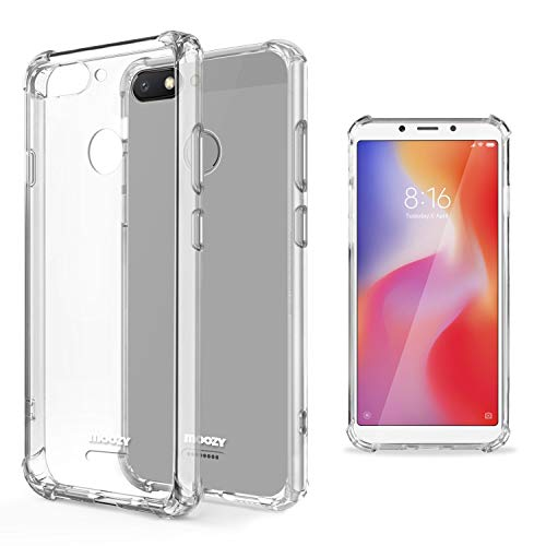 Moozy Funda Silicona Antigolpes para Xiaomi Redmi 6 - Transparente Crystal Clear TPU Case Cover Flexible