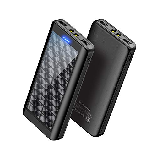 Solar Charger 30000mAh, YPWA Solar Power Bank Portable External Battery Pack Charger Dual USB Output with LED Flashlight for Camping Outdoor Compatible with Cell Phone, iPhone, Android, Tablets