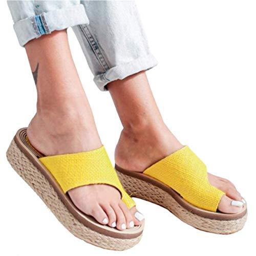 ONEYMM Bunion Sandals Orthopedic Premium Toe Corrector Sandals Slip on Platform Sandals Platform Wedge Slippers Flip Flops Summer Shoes Toe Ring Best-Walk Orthopedic Sandals for Women,Yellow,38