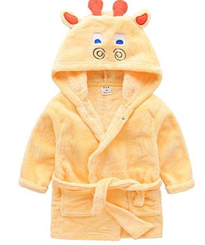 YOGLY Infantil Albornoz con Capucha Toalla de Baño de Algodón de Dibujos Animado de Pijamas para Bebé Niños 1-5 Años