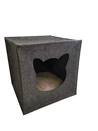 AVEELO Katzenhöhle aus Filz - mit herausnehmbaren Kissen 33 x 33 x 33 cm Katzenhaus Filzhöhle für Katzen in Grau passend für IKEA Kallax und Expedit
