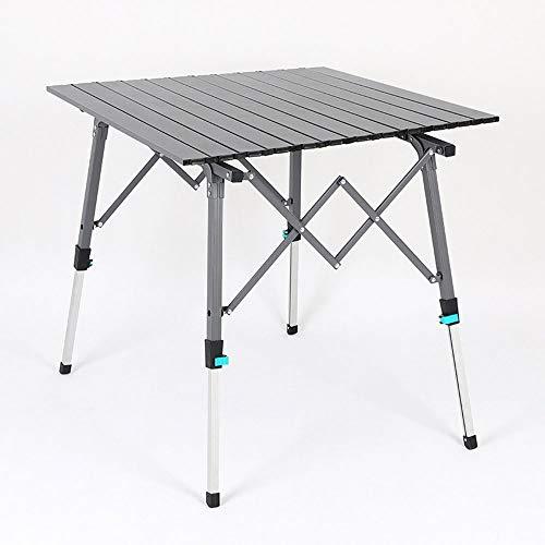 WANGY Mesa de Aluminio de Mesa Plegable al Aire Libre portátil, Adecuada para la Playa, Camping, Picnic, Picnic, Picnic, etc.-a Prueba de Intemperie y a Prueba de Nieve Altura Ajustable-Gris
