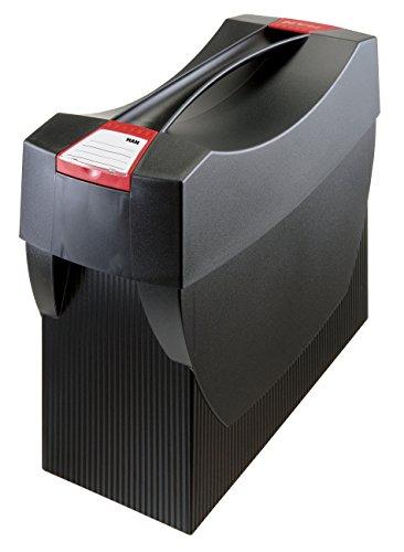 HAN Hängemappenbox SWING-PLUS 1901-13 in Schwarz / Praktische Ordnungsbox mit Deckel für Mappen und Ordner / Integrierter Stifteköcher für das Bürozubehör
