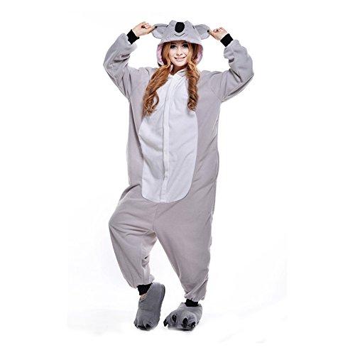 LPATTERN Unisex-Erwachsene Cosplay Pyjamas Onesie Tier Kostüm Schlafanzug Jumpsuit für Halloween Karneval, Koala, Medium (Korpergröße 160-169CM)