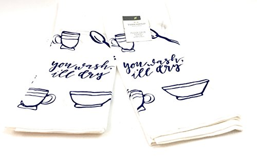 Beckon Bargains Set of 2 Flour Sack Kitchen Towels- White Background Royal Blue -Kitchen Sayings and Kitchen Accessories Pattern