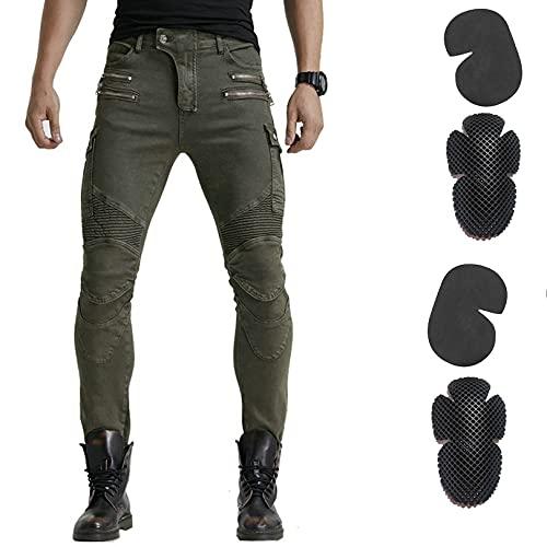 2020 Nieuwe Motorfiets Broek Heren Moto Jeans Zipper Beschermende Gear Riding Touring Motor Broek Motocross Broek Moto Pants (Color : Hi 07 Green C, Size : L)