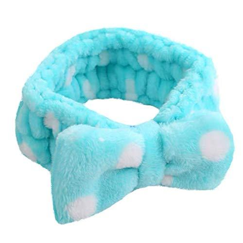 Da.Wa Bogen Krawatte Haarband Welle Punkt Plüsch Haarband Baden Beam Handtuch Make-up Haarband, Blau