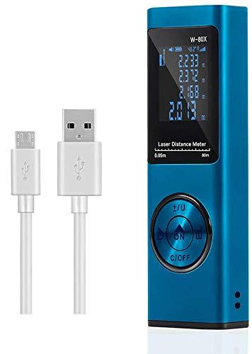 Misuratore Laser 80m,Cshare Telemetro Laser con Sensore Angolo Elettronico,USB Carica Rapida, LCD Retroilluminazione,20 Memoria Dati, Funzione Muto, Superficie,Volume e Misurazione Continua(blu)