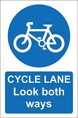 Señal de Seguridad Cycle Lane Look de Ambos sentidos, 1,2 mm, plástico rígido, 600 mm x 400 mm
