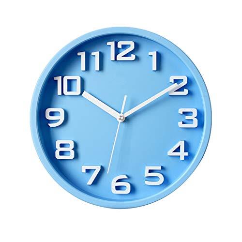 YZERTLH Reloj de Pared Reloj de Pared Decorativo Mudo Redondo para Oficina Interior/hogar/Cocina/Dormitorio Reloj de Pared Alimentado por batería(Rojo) Reloj Pared (Color : Blue)