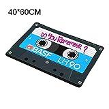 Souarts Paillasson Impression Rétro Squarex Vintage Cassette Designe Tapis de Sol Antidérapant Extérieur d'Entrée Interieur Multicolore sur Bande 60 * 40cm Lot de 1