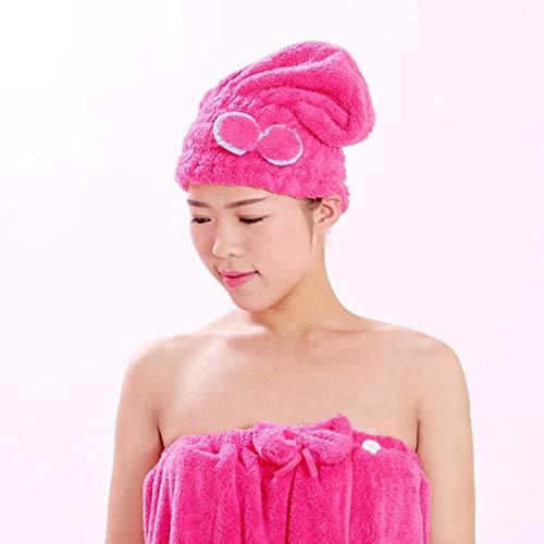 Mdsfe 1 pièce de Femmes Filles Dames Magie séchage Rapide Bain Cheveux séchage Serviette coiffures Chapeau Maquillage cosmétiques Bouchon Outil de Bain - Rose Rouge