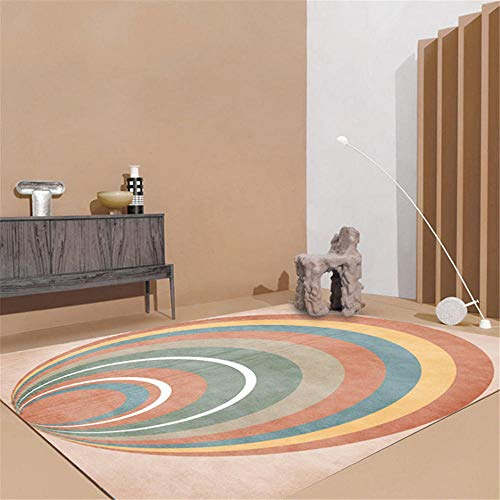 Xiaosua Not Deformed non-slip Sitting Roomes Rugs Fashion abstract rainbow multicolor design pattern living room bedroom decoration carpet washable Rugs Beige 200x280cm