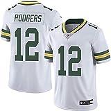 GAAHAA Maillot de Rugby Enfant, Packers 12 numéro Rodgers, Sportswear de Football américain, T-Shirt en Jersey, Matériel: Polyester-White-M