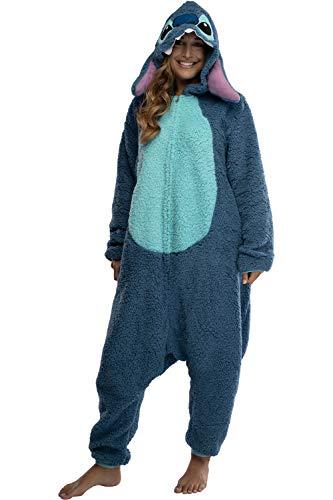 Disney Lilo & Stitch Adult Stitch Kigurumi Cosplay Costume Sherpa Union Suit Pajama Outfit (S/M) Blue