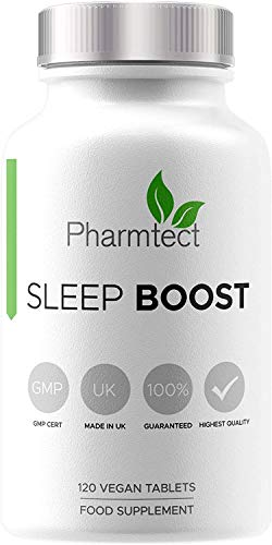 Sleep Boost Natural Sleeping Aid - Relaxation, Stress, Insomnia & Anxiety Non-Habit Forming - Highest Bioavailability 5HTP & Valerian Wake Refreshed - Highest Quality UK Made - 120 Vegan Tablets