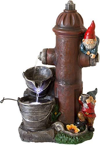 Nativ Zimmerbrunnen mit LED-Beleuchtung, Motiv-Brunnen beleuchtet, Indoor-Brunnen aus Polyresin mit Pumpe und Beleuchtung