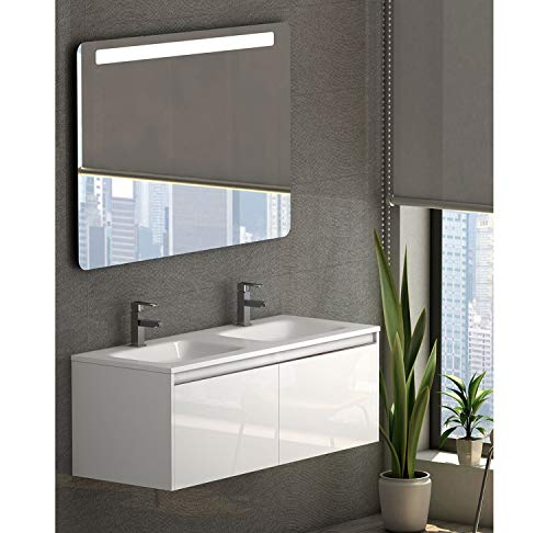 Becrisa Mueble de Baño con Lavabo Blanco Sky | Suspendido para Colgar | Lavabo Carga Mineral Incluido | Cierre amortiguado (120cm)