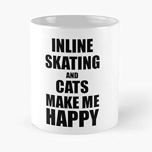 Hobbies Fan Inline Skating Funny Lover Cats Best 11 Ounce Ceramic Coffee Mug