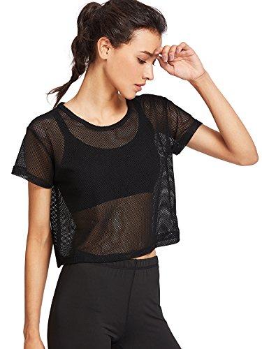 SweatyRocks Women's Sexy Sheer Mesh Fishnet Net Short Sleeve T-Shirt Crop Top Black L