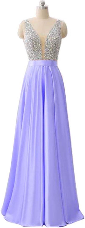 Aiyue Yishen V Neck Aline Long Satin Beaded Crystal Elegant Evening Dresses