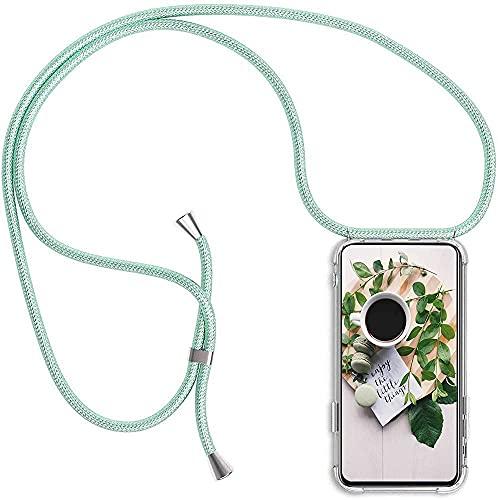 Funda con Cuerda Compatible con Samsung J5 2017/J5 Pro/J530, Carcasa Transparente TPU Silicona Case con Colgante Ajustable Collar Correa de Cuello Cordón verde