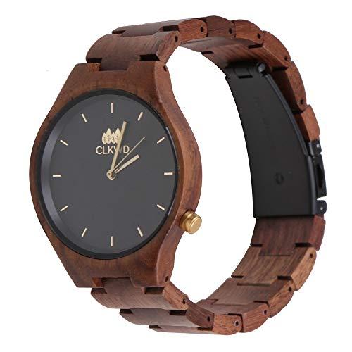 Clockwood Heinz Walnuss - Reloj de Madera para Hombre y Mujer (40 mm, Hecho a Mano)