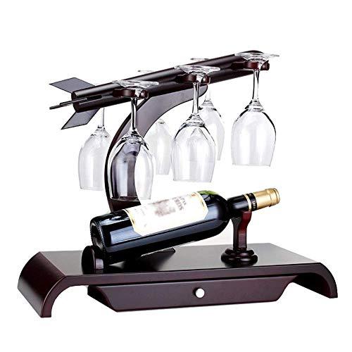 Estante para vino Estante para vino de madera   Diseño de encimera   Estante de almacenamiento de copas de mesa independiente   Almacena cómodamente 1 botellas y 6 copas de vino   Organizador de alma