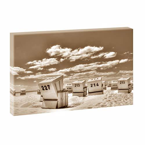 Querfarben Bild auf Leinwand mit Landschaftsmotiv Strandkörbe in SPO | 100 x 65 cm, Farbig, Wandbild, Leinwandbild mit Kunstdruck, Nordseebild mit Strandmotiv auf Holzrahmen gespannt, 65x100 cm