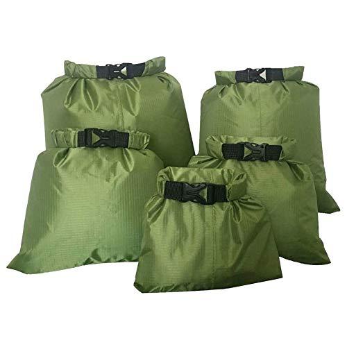 JIUTAI Drybag impermeable bolsa seca ligera Snorkeling Drifting Bag para acampar canotaje kayak rafting deriva verde ejército 5 piezas