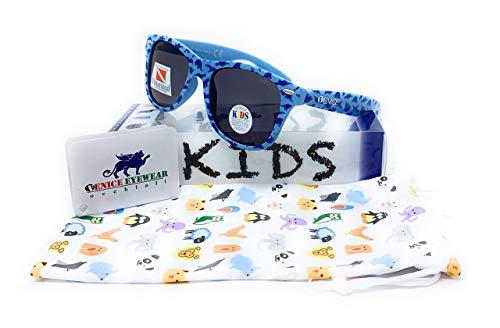 VENICE EYEWEAR OCCHIALI Gafas de sol Polarizadas para niño o niña. Vintage kids, azul dinosaurios