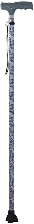 Leydee Healthcare blueee and White Porcelain Walking Stick Telescopic Elderly Three Feet Crutches Magnetic Massage LED Lamp Aluminum Alloy Cane