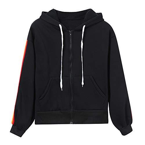 Luoluoluo Felpa Donna,Felpe Tumblr Ragazza Donne Lungo Manica Rainbow Patchwork Felpa Casual Sport Cerniera Cappotto Giacca Abbigliamento Sportivo
