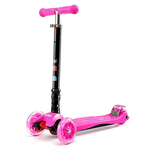 Great Price! HNSYDS Pink Kick Stroller Scooter 3 Wheel Children with PU Flashing Wheel, Height Adjus...