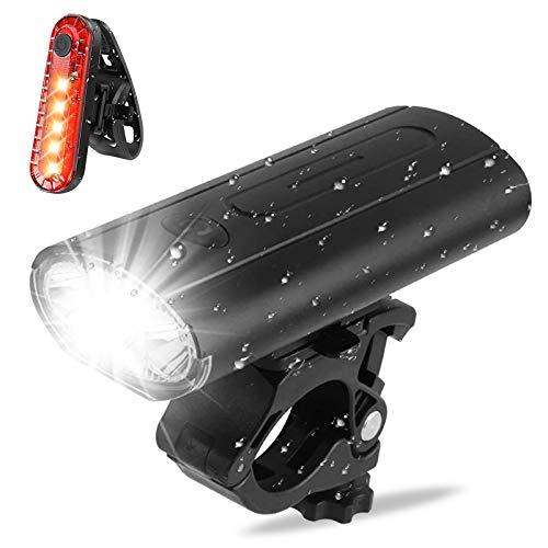 Fahrradleuchten-Set, verbesserte wiederaufladbare USB-Fahrradleuchte, Mountainbike-Leuchte, wiederaufladbare wasserdichte LED Fahrradlicht Set, einfach zu installierende