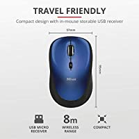 Trust Yvi Mouse Wireless, Mause Senza Filo, 800/1600 DPI, 8m di Portata Wireless, Microricevitore USB Riponibile, PC/Laptop/Mac/Chromebook - Blu #3