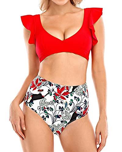 heekpek Conjunto de Bikini Traje de Baño Mujer Sexy Bañador Estampado de Flores Top con Volantes Braga Talle Alto para Dos Piezas Ropa de Playa Tallas Grandes Sujetador Acolchado(D,L)