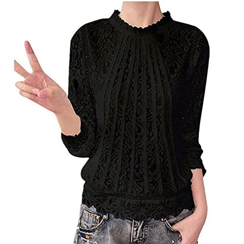 Camisa Mujer Sexy Vacaciones Shirt Casual Verano Transpirable Tela Cómoda Suave Protector Solar Camisa Encaje Playa Vacaciones Retro Elegante Mujer Blusa A-Black 3XL