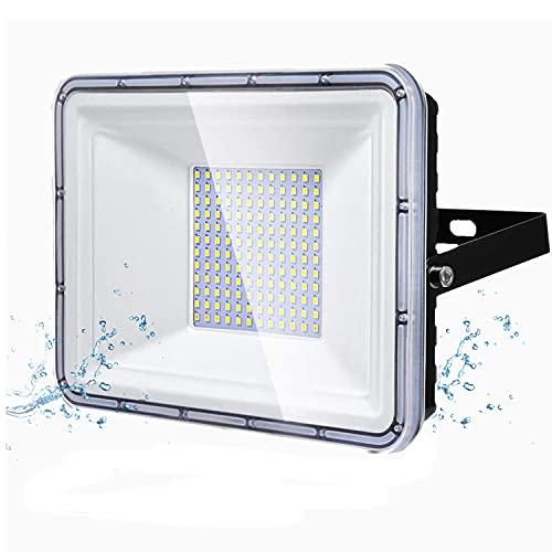 100W LED Strahler Außen , YIQIBRO LED Fluter 10000LM LED Scheiwerfer, 6500K Kaltweiß Aussenstrahler, IP67 Wasserdicht Außenstrahler für Hinterhof, Auffahrt, Türen